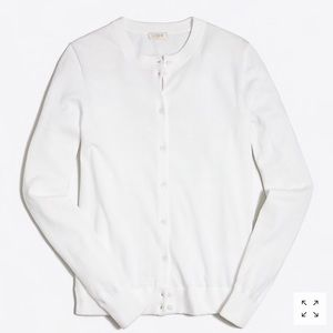 J. Crew White Cotton Cardigan Sweater
